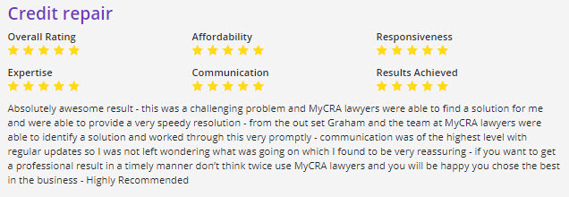Absolutely awesome result - this was a challenging problem and MyCRA lawyers were able to find a solution for me and were able to provide a very speedy resolution - from the out set Graham and the team at MyCRA lawyers were able to identify a solution and worked through this very promptly - communication was of the highest level with regular updates so I was not left wondering what was going on which I found to be very reassuring - if you want to get a professional result in a timely manner don't think twice use MyCRA lawyers and you will be happy you chose the best in the business - Highly Recommended